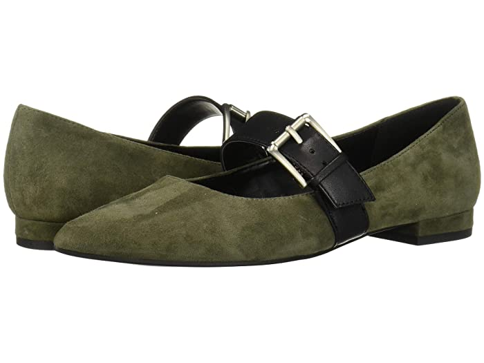 Retro Vintage Flats and Low Heel Shoes Aerosoles Final Score Dark Green Suede Womens Flat Shoes $80.10 AT vintagedancer.com