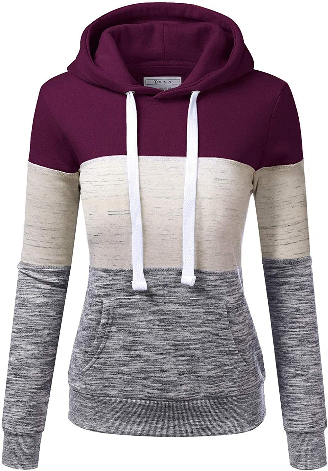 Hoodies for Women Pullover Round Neck Pocket Hooded Casual Shirts Long Sleeve Lightweight Sweatshirts Color Block Tops