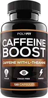 Caffeine Pills with L-Theanine - 120 Capsules - Energy & Focus Supplement - 100mg Caffiene & 200 mg LTheanine Per Serving
