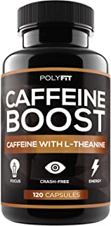 Caffeine Pills with L-Theanine - 120 Capsules - Energy & Focus Supplement - 100mg Caffiene & 200mg LTheanine Per Serving