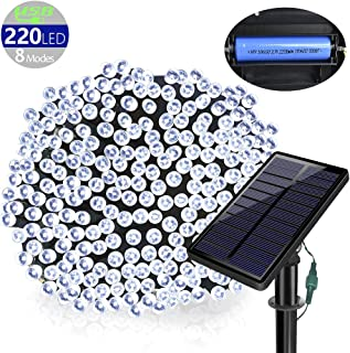 SOLARMKS DC-18, 77 ft 220 Led Fairy USB 8 Modes Solar Christmas Waterproof Outdoor String Lights for Garden Lawn Patio Xmas Tree (White)