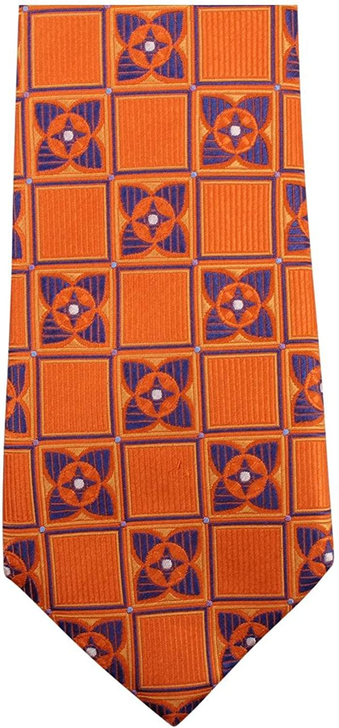 Knightsbridge Neckwear Mens Square Flower Tie - orange Navy