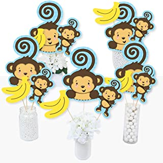Blue Monkey Boy - Baby Shower or Birthday Party Centerpiece Sticks - Table Toppers - Set of 15