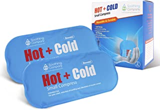 Hot and Cold Reusable Compress by Soothing Company - Pain Relief for Headaches, Back, Neck, Shoulder, Migraines - Gel Compress for Heating and Cooling Therapy - Two Small Gel Packs