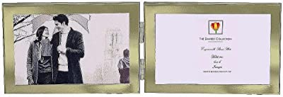Dennis Daniels Hinged Double Horizontal Elegant 1/2-inch Engraveable Metal Picture Frame,