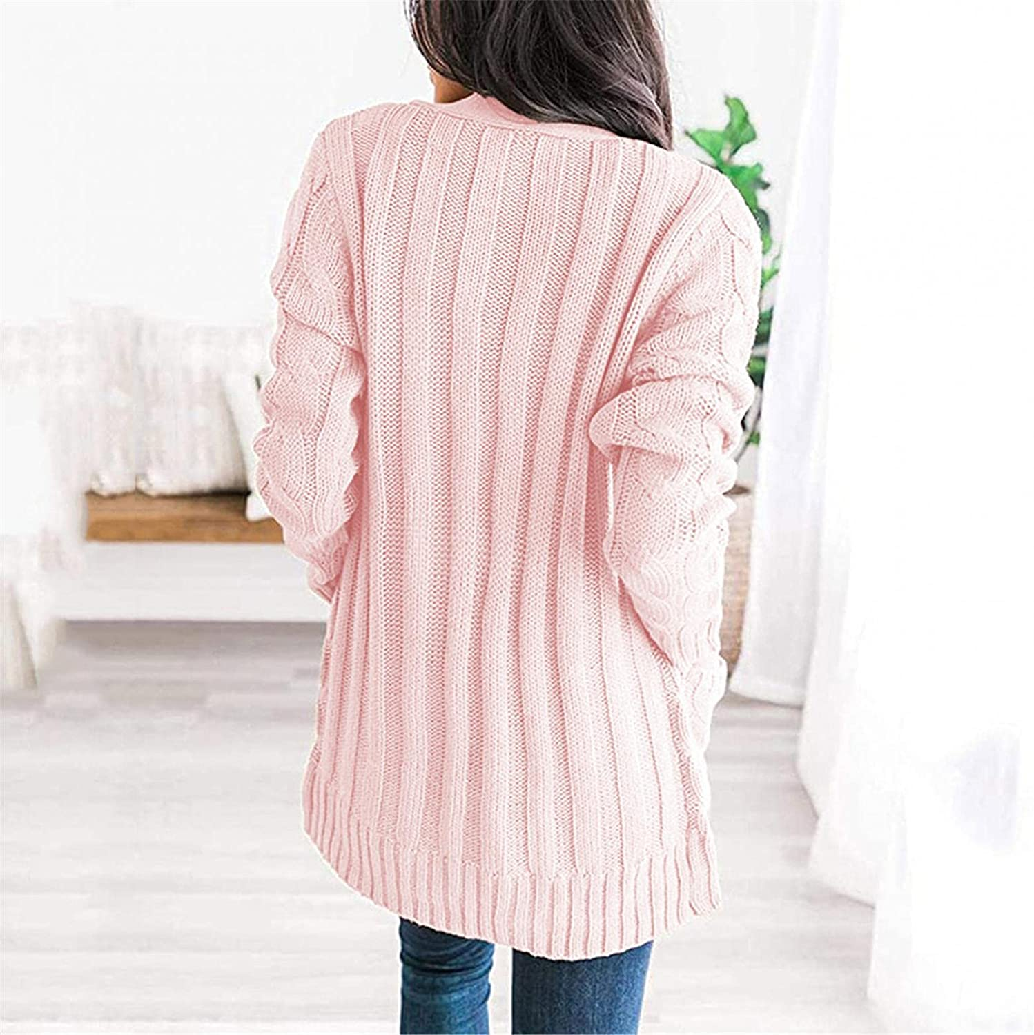 AODONG Cardigan for Women Casual Long Sleeves Cable Knit Sweater Open Front Cardigan Button Loose Outerwear