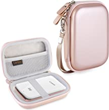 Canboc Hard Carrying Case for Canon Ivy Mobile Mini CLIQ CLIQ+ Instant Camera Printer Wireless Bluetooth Portable Smartphone Photo Printer, Mesh Pocket fit Zink Photo Paper and USB Cable, Rose Gold