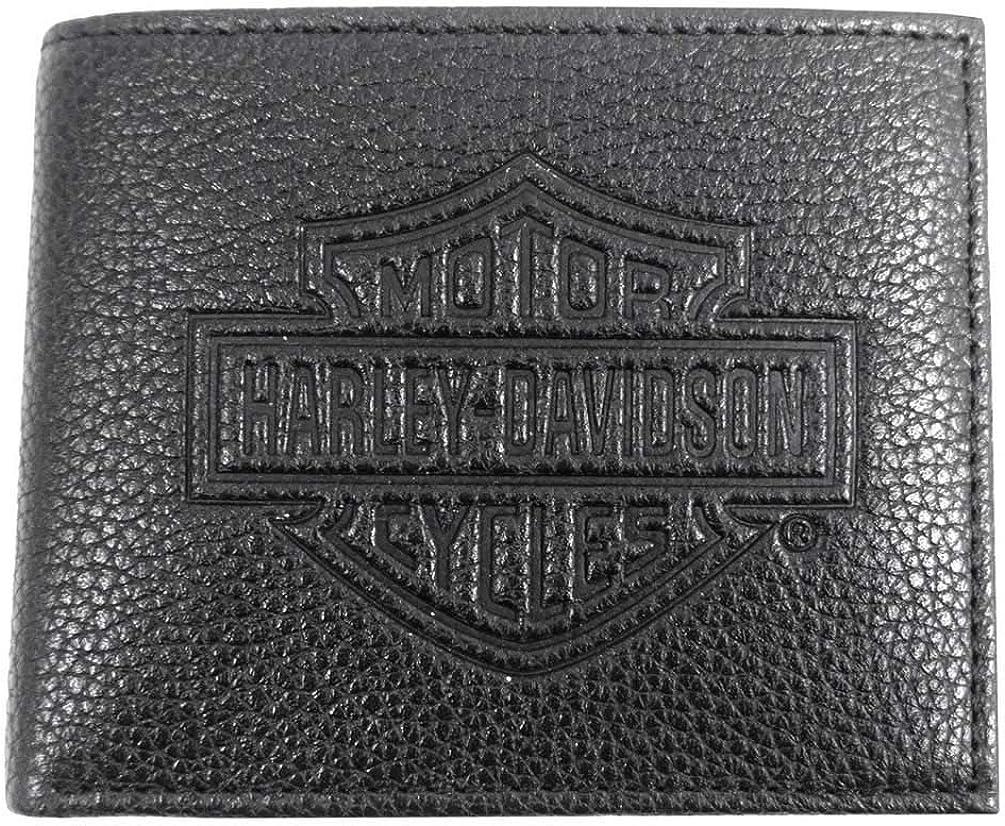 Harley-Davidson Mens B&S Embossed Pocketed Billfold Leather Wallet MSB8361-BLACK