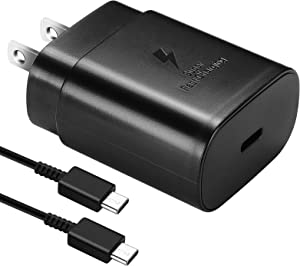 Type C Charger,25W USB C Wall Charger for Samsung Galaxy S21/ S21 Ultra/S21 Plus/S20/Note 20 Ultra/Note 10 Plus/S20+/S20 Ultra,Super Fast Charging Block for S10/S10e/S9/S8 and 5ft Type-C USB Cable