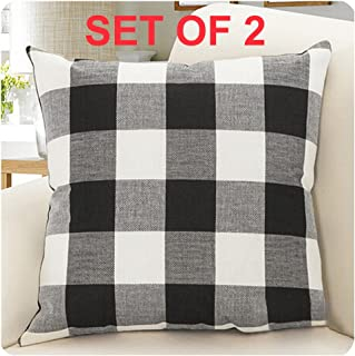 Burlap Farmhouse Decor Buffalo Checkers Plaid Cotton Linen Decorative Throw Pillow Cover Rustic Cushion Cover Pillowcase for Sofa 18 x 18 Inch, Set of 2 (Black/White, 18