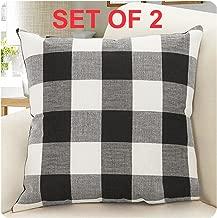 Burlap Farmhouse Decor Buffalo Checkers Plaid Cotton Linen Decorative Throw Pillow Cover Rustic Cushion Cover Pillowcase for Sofa 18 x 18 Inch, Set of 2 (Black/White, 18