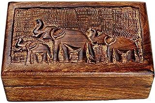 Nirvana Class Country Style Wooden Jewelry Trinket Keepsake Storage Box Organizer Multipurpose with Hand Carved Elephant Design