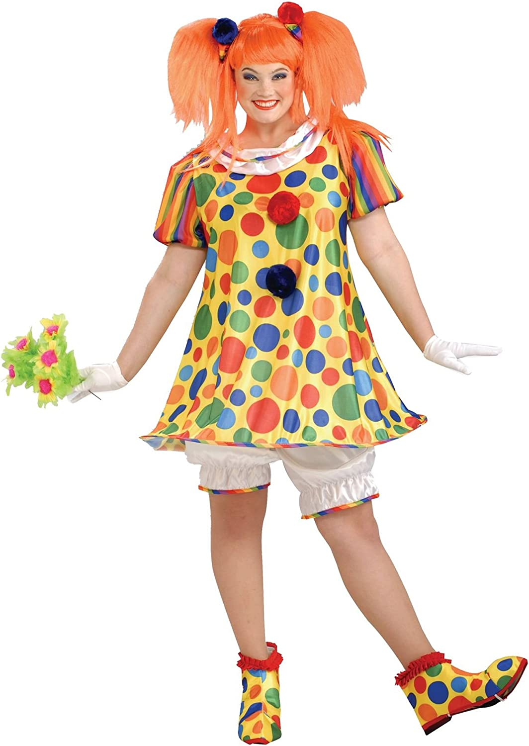 Giggles Clown Circus Carnival Girl Fancy Dress Up Halloween Deluxe Adult Costume