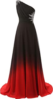 One Shoulder Ombre Long Evening Prom Dresses Chiffon Wedding Party Gowns
