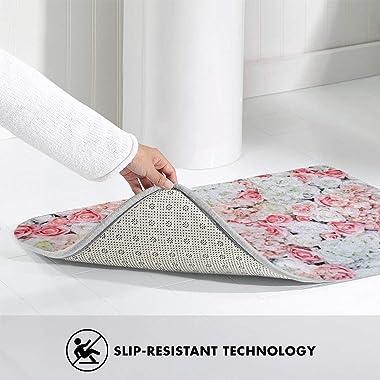 """Floral Wall Doormat Non Slip Indoor/Outdoor Door Mat Floor Mat Home Decor, Entrance Rug Rubber Backing Large 23.6""""(L) x 1"""