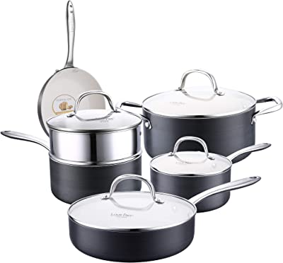 AMERICOOK 10 Piece Black Hard Anodized Aluminium Nonstick Cookware Set - Nonstick Ceramic Pots and Pans Set with Sturdy Glass Lids, Sauce Pan with Steamer Insert