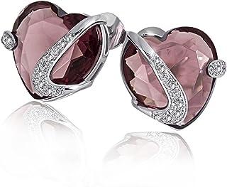 Goldmaid 亚马逊进口直采 德国品牌 女士 女士耳钉925纯银 镶嵌1颗碧玺色宝石40颗白色方晶锆石 心形Fa O4306S