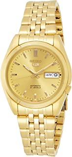Men's SNK366K Seiko 5 Automatic Gold Dial Gold-Tone Stainless Steel Watch
