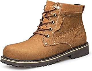 L-YIN Hiking Boots for Men Round Toe Lace Up Eyelock Mid Top Pull Tap Stitiching Block Heel Genuine Leather Rubber Sole Br...