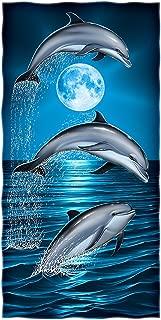 Dawhud Direct Dolphins Moon Cotton Beach Towel