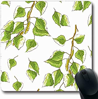 Ahawoso Mousepad Oblong 7.9x9.8 Leafage Green Leaf White Birch Drawn Leaves Branches Nature Alba Greenery Sapling Betula Ramus Branch Non-Slip Rubber Mouse Pad Office Computer Laptop Game Mat