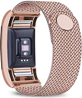 Bopha Replacement Bands Compatible for Fitbit Charge 2 Stainless Steel Metal Bracelet with Unique Magnet Clasp (Small,  Rose Gold)