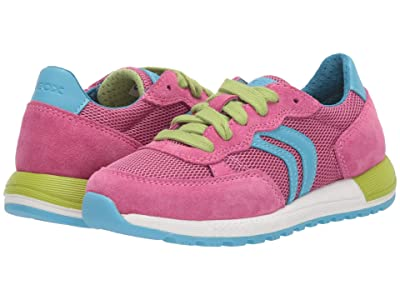 Geox Kids Alben 5 (Little Kid) (Light Blue/Fuchsia) Girl