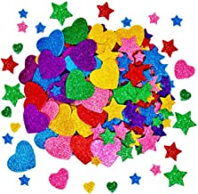 260 Pieces Colorful Glitter Foam Stickers Self Adhesive Stars Mini Heart Shapes Glitter Stickers, Kid's Arts Craft Supplie...