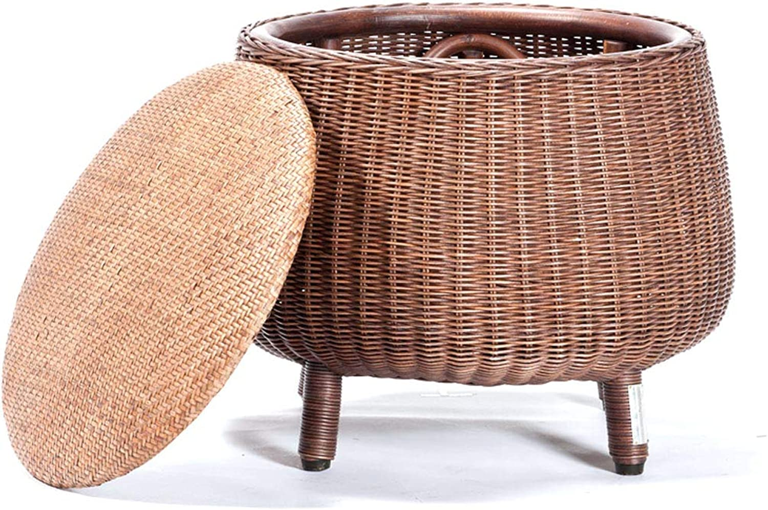 Storage Stool Footrest, Rustic Stool, Creative Rattan Stool, Home shoes Bench, Suitable for Living Room, Bedroom, Balcony (40×38cm)