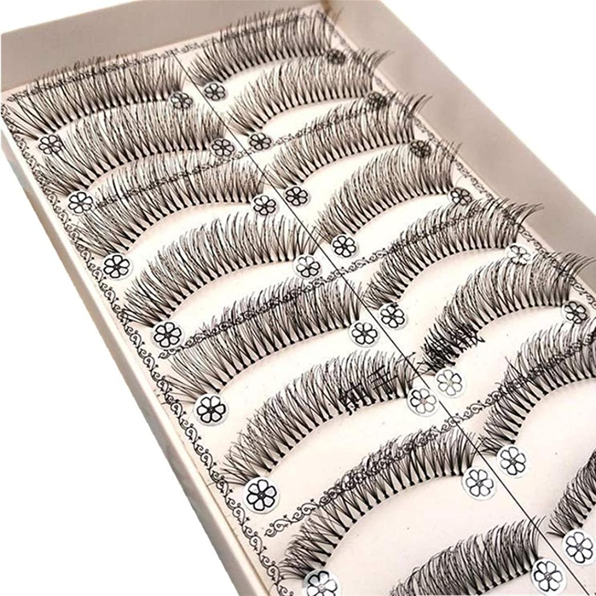 苦難算術コンデンサーFeteso 10組 偽のまつげセット つけまつげ 上まつげ Eyelashes アイラッシュ ビューティー まつげエクステ レディース 化粧ツール アイメイクアップ 人気 ナチュラル 飾り 再利用可能 濃密 柔らかい