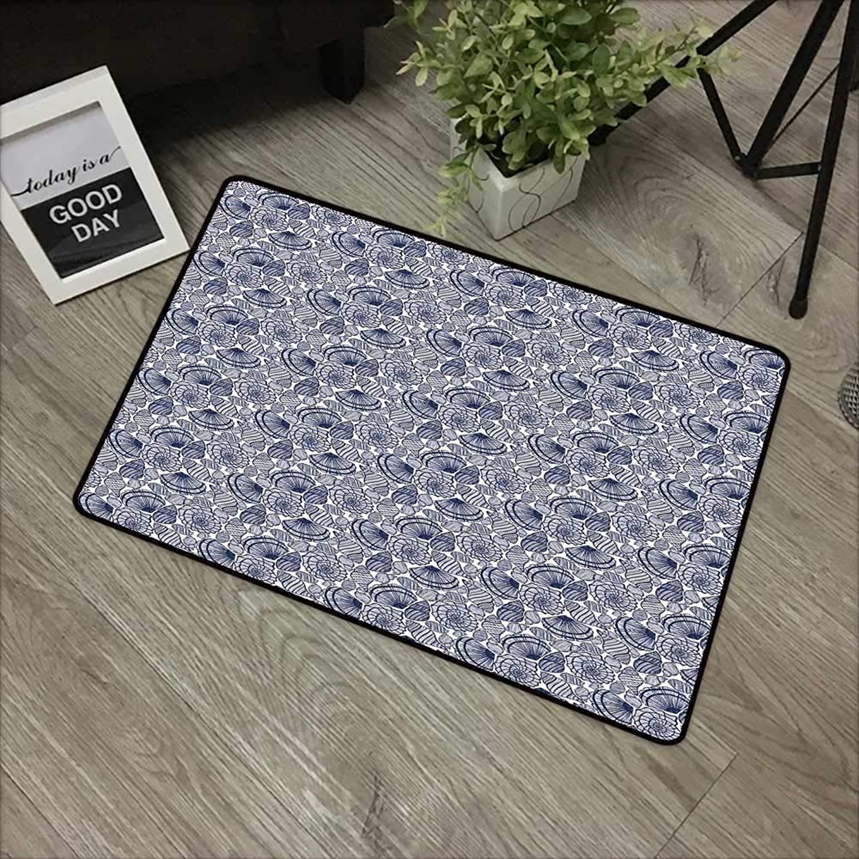 Floor mat W35 x L59 INCH Navy bluee,Hand Drawn Scallops Line Composition Aquatic Animals Doodle Style Sketch,Dark bluee White Non-Slip Door Mat Carpet