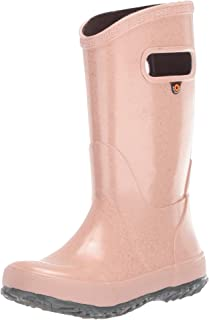 BOGS Kids Rainboots Waterproof Rubber Rain Boots for Boys and Girls, Glitter - Rose Gold, 12 M