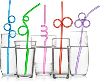 40 Premium Crazy Loop Party Drinking Straws - Recyclable, Longer & Wider - Assorted Colors Value Pack - BPA PFOA Free