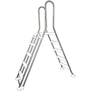 New Plast 0846 - Scaletta Inox di Sicurezza per Piscine, 4 scalini + piattaforma + frontale rimovibile