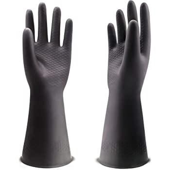 """UXglove Chemical Resistant Gloves, Work Heavy Duty Industrial Rubber Gloves,12.2"""",Black 1 Pair Size Medium"""