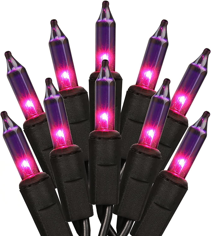PhilzOps Purple Lights, 21.63ft 100 Count Purple Halloween Lights, 120V UL Certified Purple Incandescent Lights, Connectable Purple Mini Lights for Halloween Party Spooky Tree Decor, Black Wire
