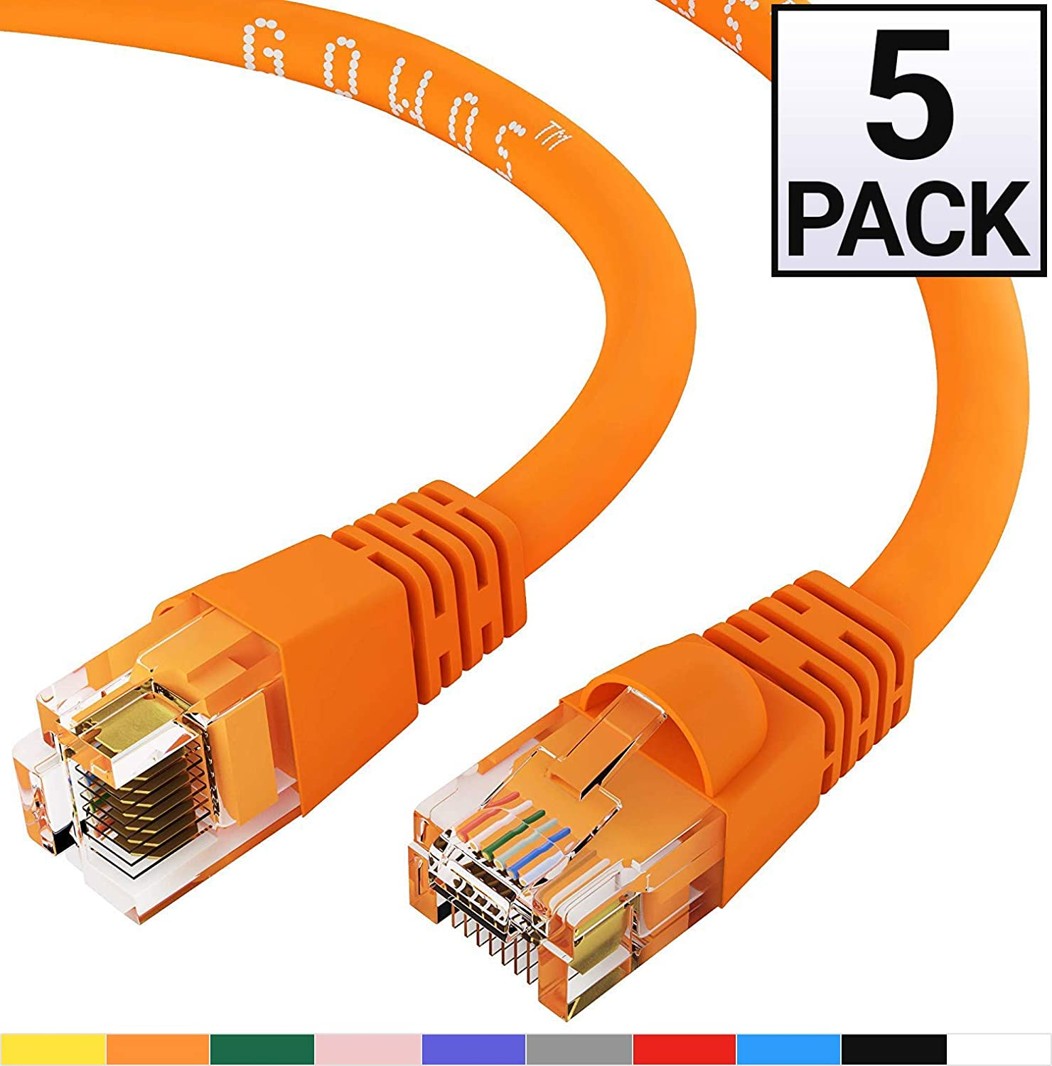 Cat6 Ethernet Cable Computer Network Cable with Snagless Connector RJ45 10Gbps High Speed LAN Internet Patch Cord UTP GOWOS 20-Pack Available in 28 Lengths and 10 Colors 14 Feet - Red