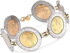 Ross-Simons Italian Genuine 500-Lira Coin Bracelet With 14kt Yellow Gold