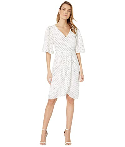 Cupcakes and Cashmere Estrella Polka Dot Crinkle Chiffon Dress w/ Wrap Front (Ivory) Women