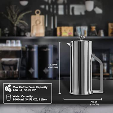 Lafeeca French Press Coffee Maker - Stainless Steel Double Wall Vacuum Insulated - Large Thermal Brewer 34 oz 1000 ml Polishe
