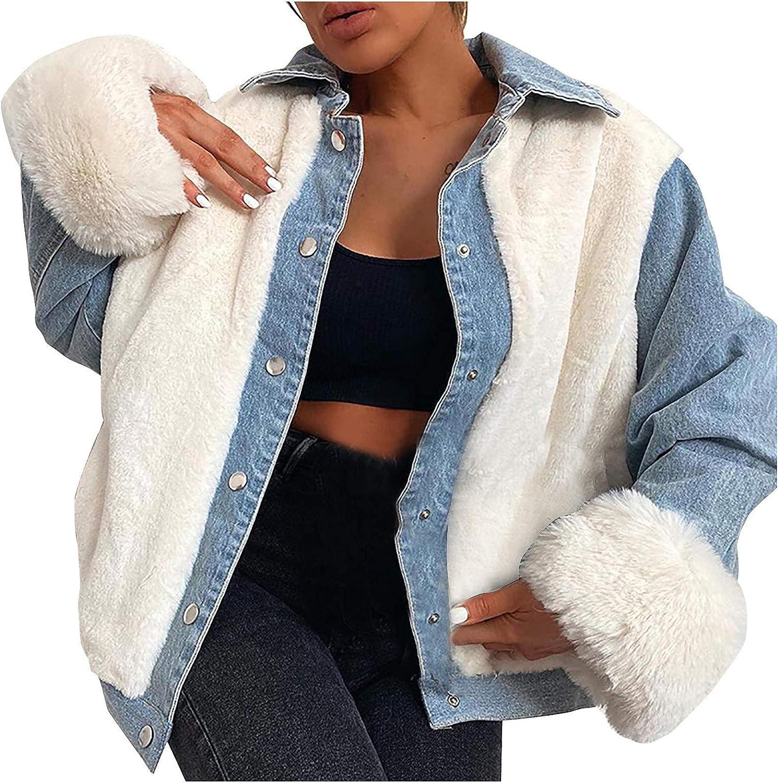 Women Faux Fur Denim Jacket Fuzzy Long Sleeve Lapel Patchwork Coat Plush Sherpa Trucker Oversized Outerwear Shaggy Coat