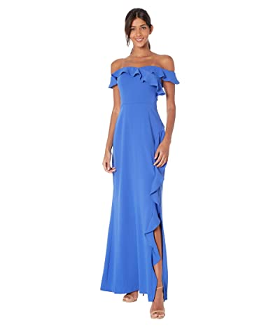 BCBGMAXAZRIA Off the Shoulder Ruffle Evening Gown (Blueberry) Women