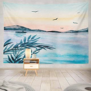 ONELZ Wall Hanging Tapestry, Mountains Sunset Watercolor Landscape Artwork Birds Blue Boat Lake Decor Collection Bedroom Living Room 60 L x 80 W Polyester