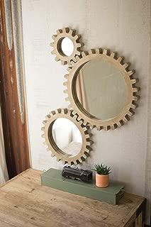 Kalalou Gold Wooden Gears Mirrors, Set of Three