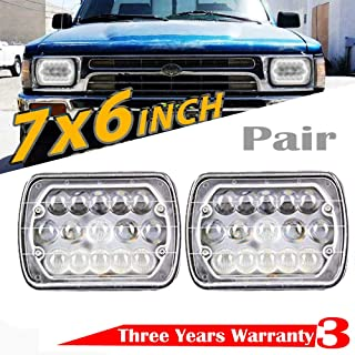 7x6 / 5x7 Inch LED Headlight For Toyota Pickup Truck Tacoma Celica Corolla Supra Upgrade Pair Sealed Beam H6014 H6054 H6052 Conversion Kit Super Bright 6000k White High Low Beam Rectangle Lights