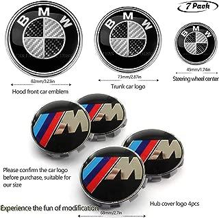 7pcs BMW M emblem,BMW M Wheel Center Caps Hub CapsX4,BMW carbon fiber Emblem Logo Replacement for Hood/Trunk,BMW Steering Wheel Emblem Decal (M)