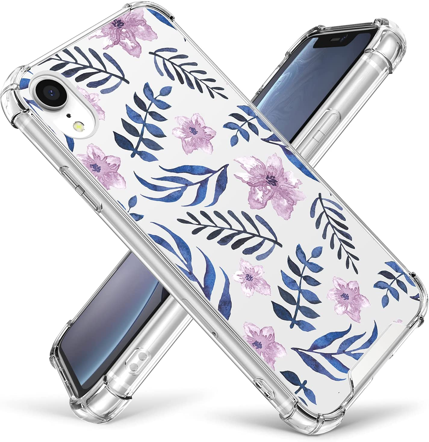 Case for iPhone XR,Cutebe Shockproof Series Hard PC+ TPU Bumper Protective Case for Apple iPhone XR 6.1 Inch 2018 Release Crystal (Blue Fern)