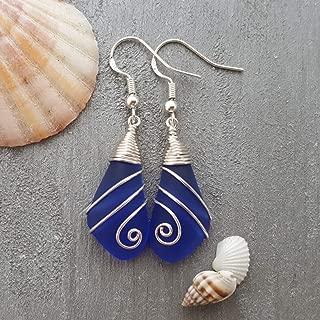 Handmade in Hawaii, Swirles wire wrapped cobalt blue sea glass earrings, gift box,beach glass earrings,sea glass jewelry, beach glass jewelry