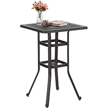 "PHI VILLA 27.5"" Cast Aluminum Patio Outdoor Frosted Surface Square Bar Height Bistro Table - 42"" Pub Height"