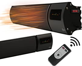 KIASA - 1800W - Barra de calefacción infrarroja - Calefactor radiante de techo o pared - Control remoto con temporizador- Clasificación IP44 - 1240x150x65mm